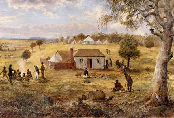 Government residence, Melbourne 1837, Joseph Panton, 1880. (The house of William Lonsdale, the district's first police magistrate, is depicted in this painting. The tall figure to the left is William Buckley, who lived with Aboriginal people for over 30 years. The woman in the foreground feeding chickens is Lonsdale's wife, Martha).