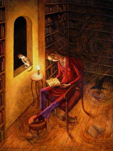 Aura of mystery in the library / Halo de misterio en la biblioteca (ilustración de Gina Litherland):