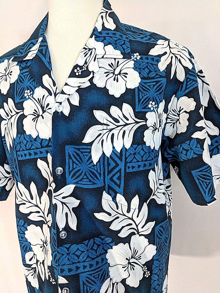 Vintage Evergreen Island Hawaiian Aloha Shirt Blue White Hibiscus Size XL #EvergreenIsland #Hawaiian