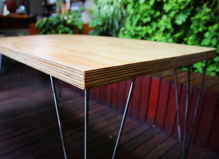 Wireframe Table Legs + Plywood Tabletop