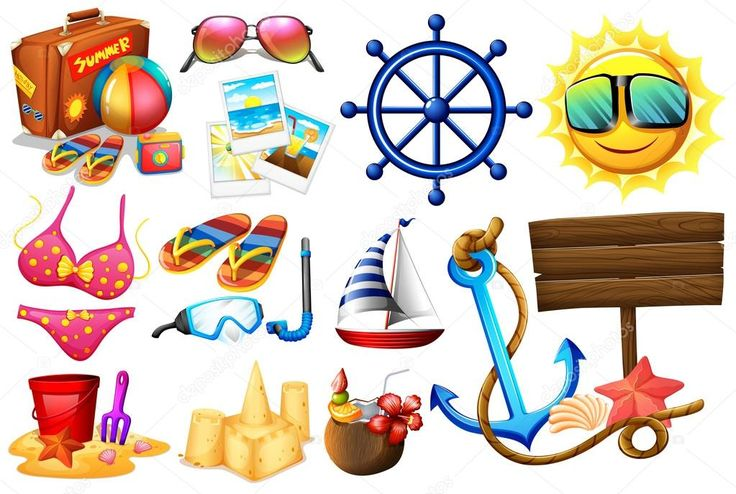 Ideale per una gita in spiaggia le cose — Illustrazione stock #68678401