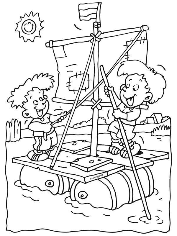 kleurplaat kinderen op een zelfgemaakt vlot  kleurplaten