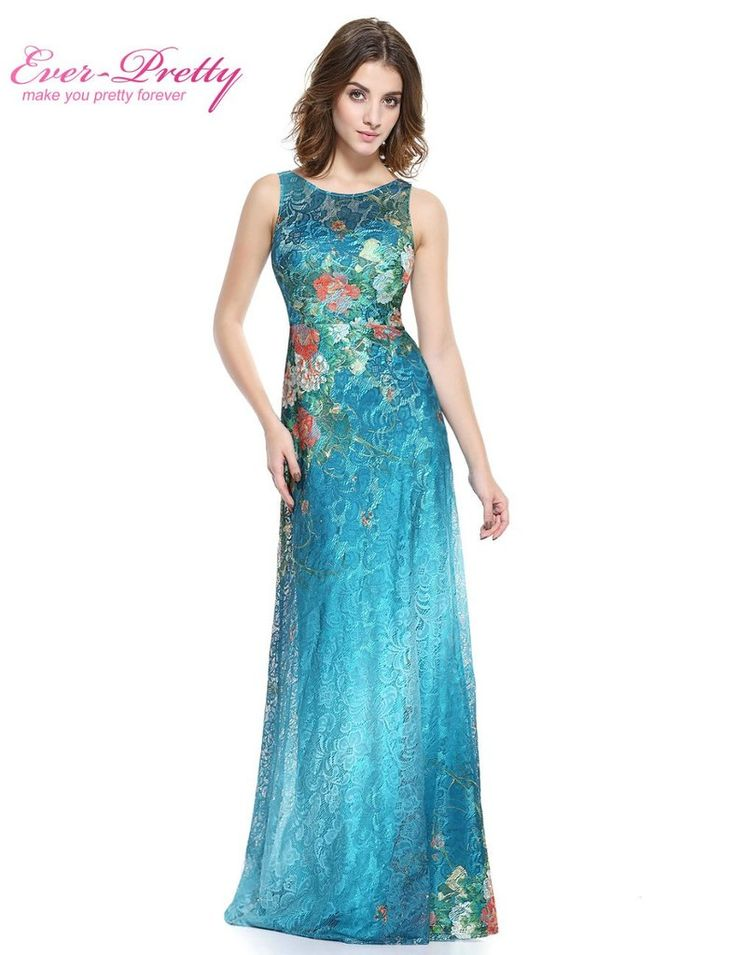 Blue Floral Pattern Prom Dress A-line Prom Dress 2017 HE08827 Sexy Sleeveless O-neck Lace Prom Gowns Floor Length Prom Dresses
