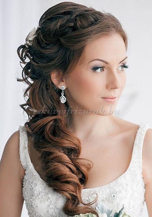 félig leengedett esküvői frizurák - félig feltűzött esküvői frizura