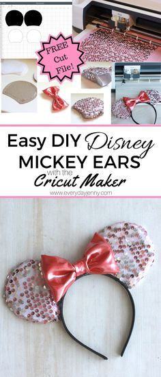 Easy DIY Disney Minnie (or Mickey) Mouse Ears tutorial. Use your Cricut Maker to cut out the fabric, felt and cardstock. Free cut file included.