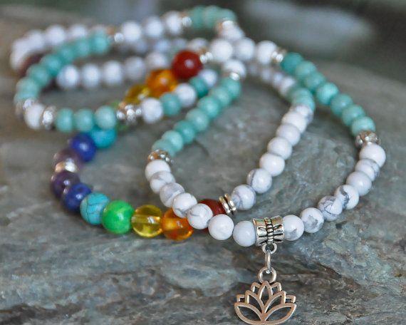 Calm 108 Mala, meditation mala necklace, mala wrap bracelet,japa mala,Lotus flower, gemstone mala,7 chakra,aventurine, howlite tourmaline