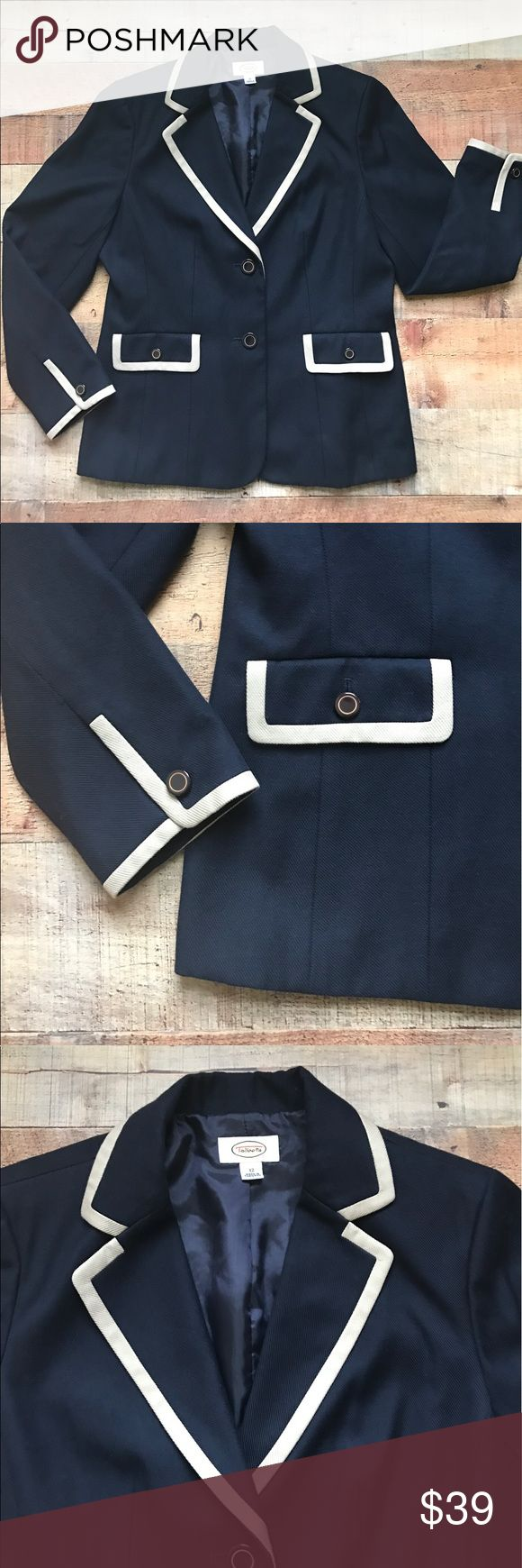 Talbots Two-Toned Blazer Gently used blazer that is navy blue and cream. The two pockets are real pockets. The measurements are Talbots Jackets & Coats Blazers
