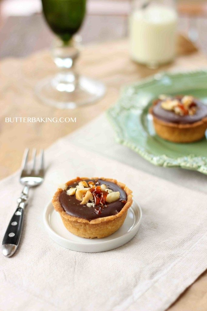 Salted caramel, chocolate and macadamia praline tarts | Recipe