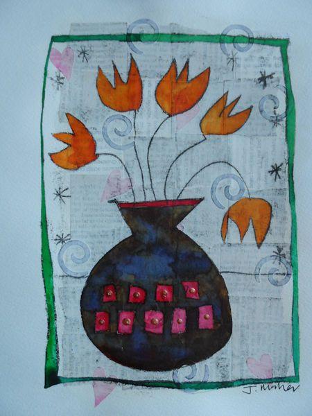Orange flowers, brown vase - Mixed media