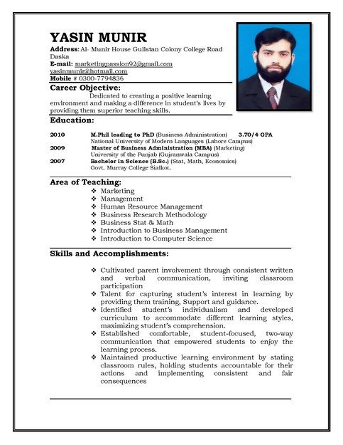 Professional Resume Samples For Teachers