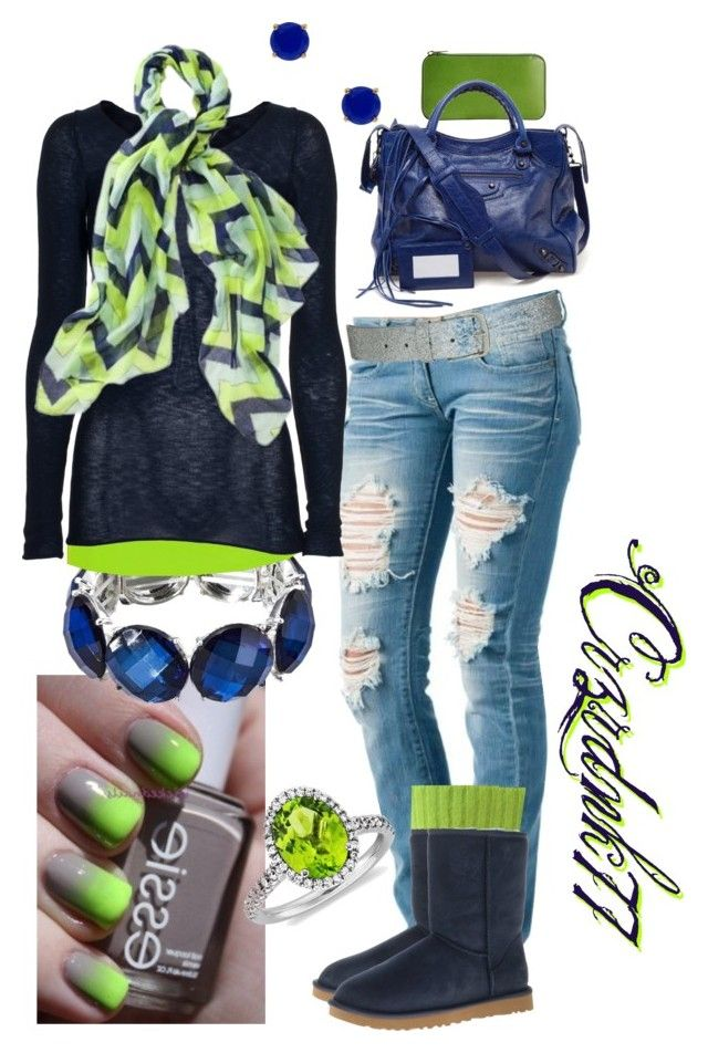 """""""Lime and Navy"""" by crzrdnk77 ❤ liked on Polyvore featuring BKE, Friendly Hunting, Mossimo, UGG Australia, Valextra, Balenciaga, Kate Spade, Blue Nile and Wet Seal"""