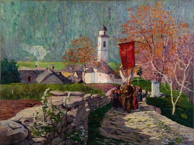 """Carlo Fornara, """"Processione a Prestinone di Val Vigezzo"""", 1898"""