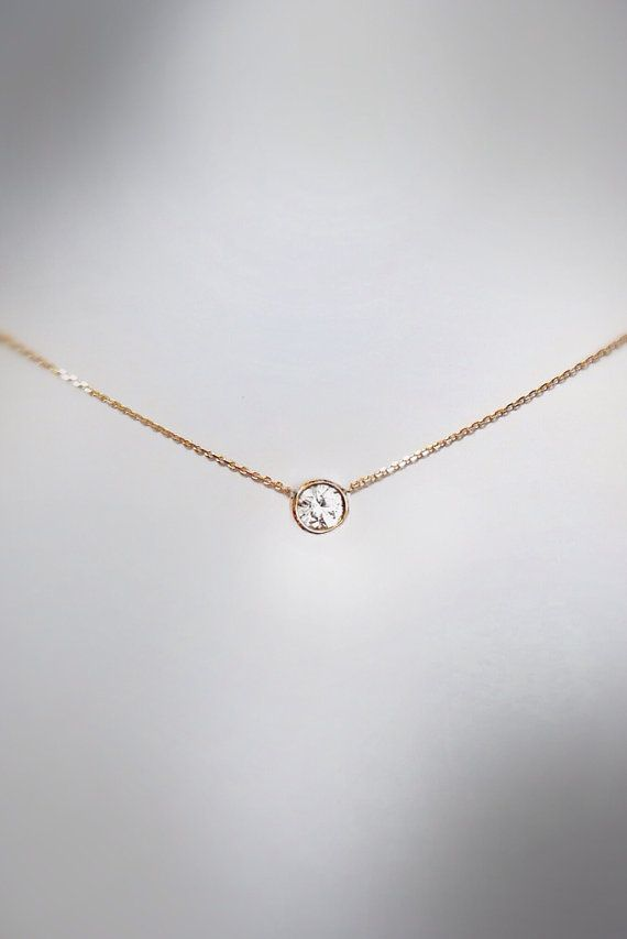 Diamond solitaire .30 carat gold necklace by cestsla on Etsy