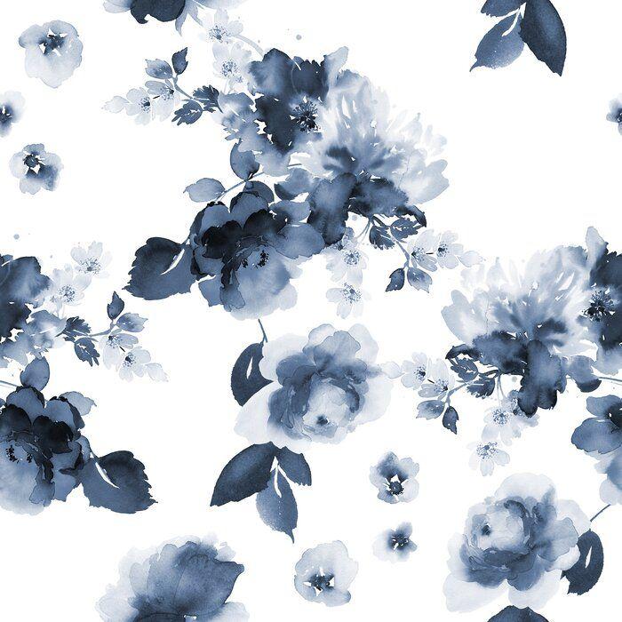 Prochniak Smoky Flowers 10 L X 24 W Peel And Stick Wallpaper Roll Watercolor Flowers Pattern Blue Flower Wallpaper Watercolor Flowers