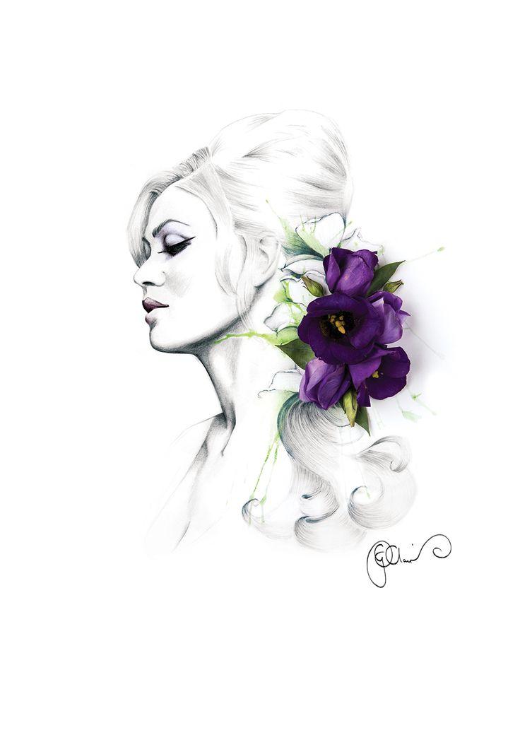 yvonne with purple lisianthus flowers fashion illustration portrait by Georgie St Clair