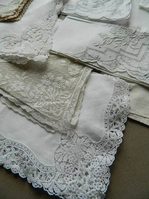 35 vintage circa 1940's ladies hankies - lace trim, whitework or hand embroidery