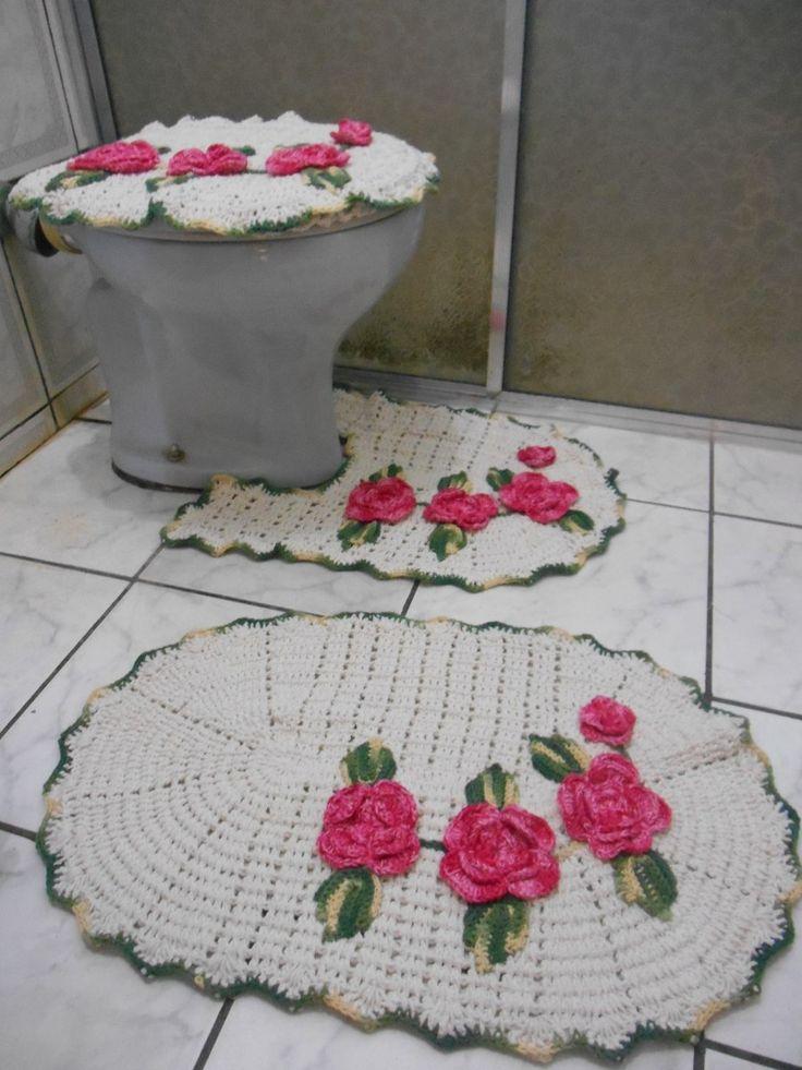Kit Para Banheiro Artesanato ~ 229 melhores imagens sobre jogo de banheiro croche no Pinterest Banheiros, Natal e Artesanato