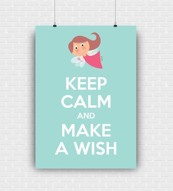 Keep calm and make a wish printable art quote by GraphicCorner
