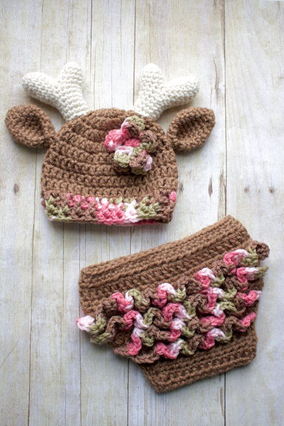 Newborn Crochet Deer Hat and Ruffle Diaper by KKCrochetDesigns