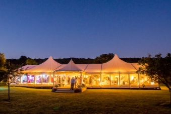Our new two domed wedding marquee at night