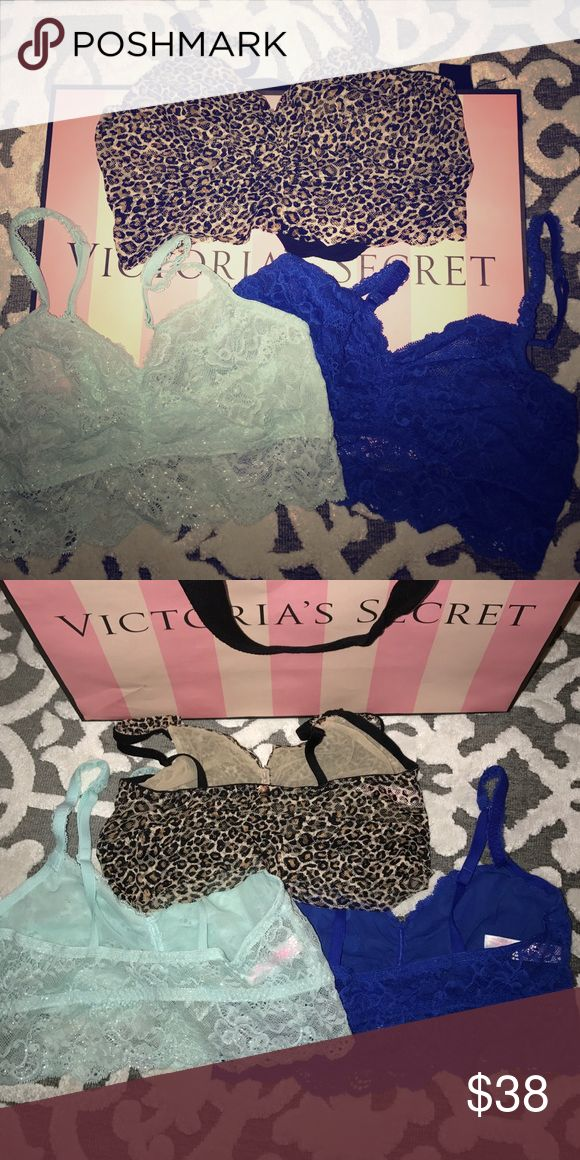 VS PINK Bralette Bundle 3 Victoria's Secret PINK Bralettes. Icy blue with light shimmer, bright blue, & leopard. A MUST-HAVE for layering. All Excellent condition. Sz: Medium PINK Victoria's Secret Intimates & Sleepwear Bras