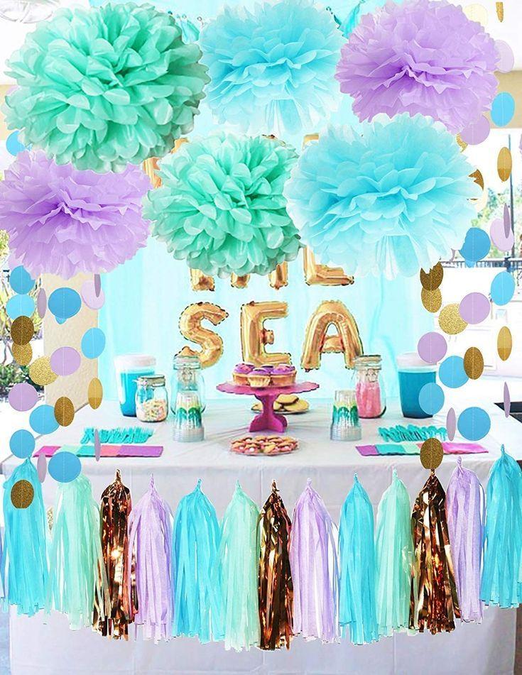 Meerjungfrau Party Dekorationen unter dem Meer Thema lila blau Minze Baby Dusche Dekorationen Tissue Pom Poms ersten Geburtstag Dekorationen lila Brautdusche Dekorationen Meerjungfrau Party Supplies – CA184RO9O7K