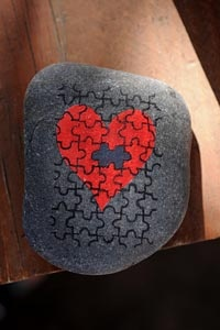 Puzzle Heart Painted Stone