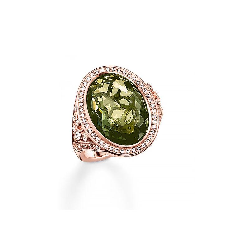 Thomas Sabo 18kt rose gold plated green ring $394
