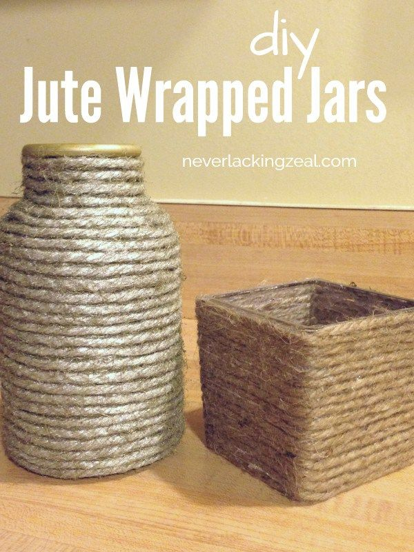 DIY Jute Wrapped Jars - recycle jars to make new decorations for your home. (scheduled via http://www.tailwindapp.com?utm_source=pinterest&utm_medium=twpin&utm_content=post28290992&utm_campaign=scheduler_attribution)