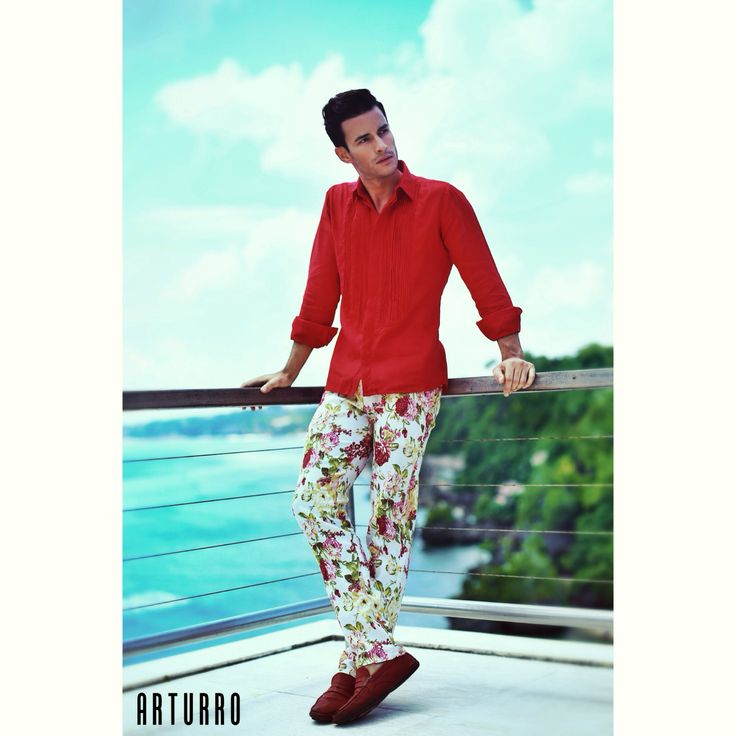 ARTURRO Men's Collection-Red Linen Shirt & Red Flowery Printed Pants Available at ARTURRO Boutique Jl. Kayu Aya no 18 Oberoi-Bali Indonesia, #arturroeggo #mensfashion #mensoutfit #resortwear #linenshirt #printedpants #smartcasual #man #boys #model #bali #indonesia #highfashion