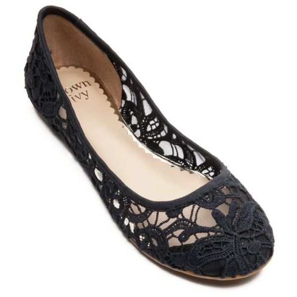 Crown  Ivy  Novel Navy Fylicia Flat - Women's ($60) ❤ liked on Polyvore featuring shoes, flats, novel navy, floral flats, flat shoes, navy flat shoes, ballerina shoes and lace-up ballet flats