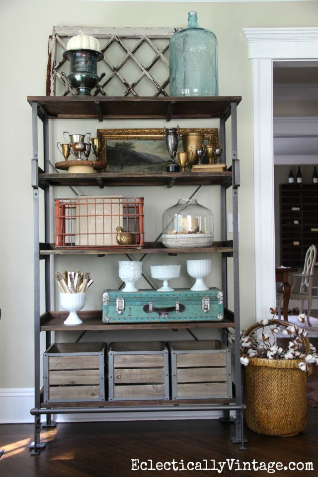 Open Shelving Display - love the look of this and how she added storage for clutter eclecticallyvintage.com