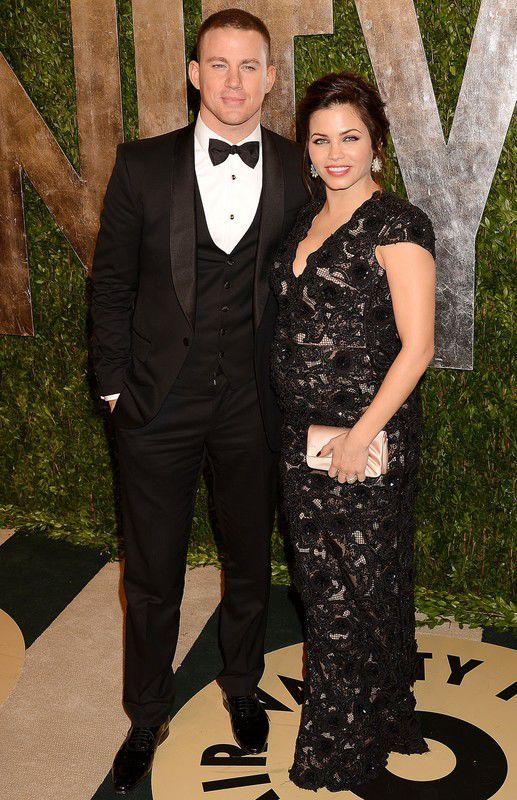 Gwiazdy w ciąży: Jenna Dewan i Channing Tatum na 2013 Vanity Fair Oscar Party, fot. East News