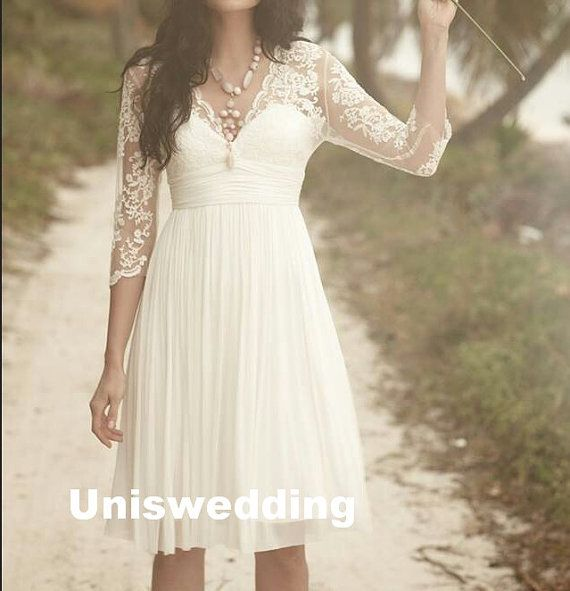 3 4 sleeves lace chiffon knee length short wedding dress for Knee length lace wedding dress