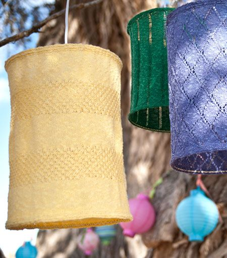 Delightful Knitted Lampshades. Love The Periwinkle One! Gallery