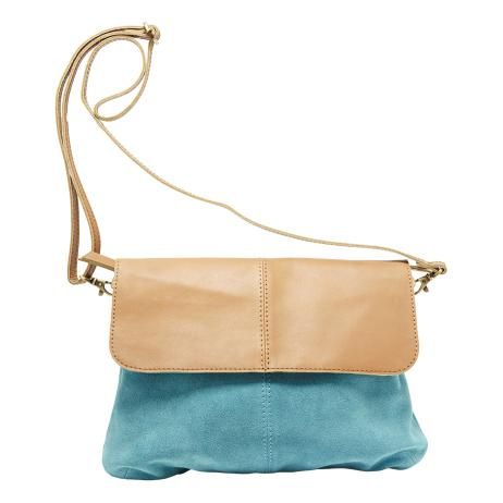 Leather and Suede Bag in Turquoise and Tan