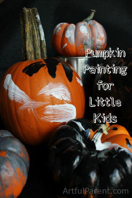 Halloween Pumpkin Painting for Little Kids - with a link to activity paint that works better than tempera paint