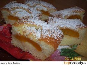 Hrníčkové meruňkové řezy 2,5 hrnku polohrubé mouky 2,5 cukr krupice 0,5 hrnku oleje 2 hrnky mléka 2 vejce 1 prášek do pečiva meruňky nebo jiné ovoce 1 vanilkový cukr asi 2 lžíce strouhanky