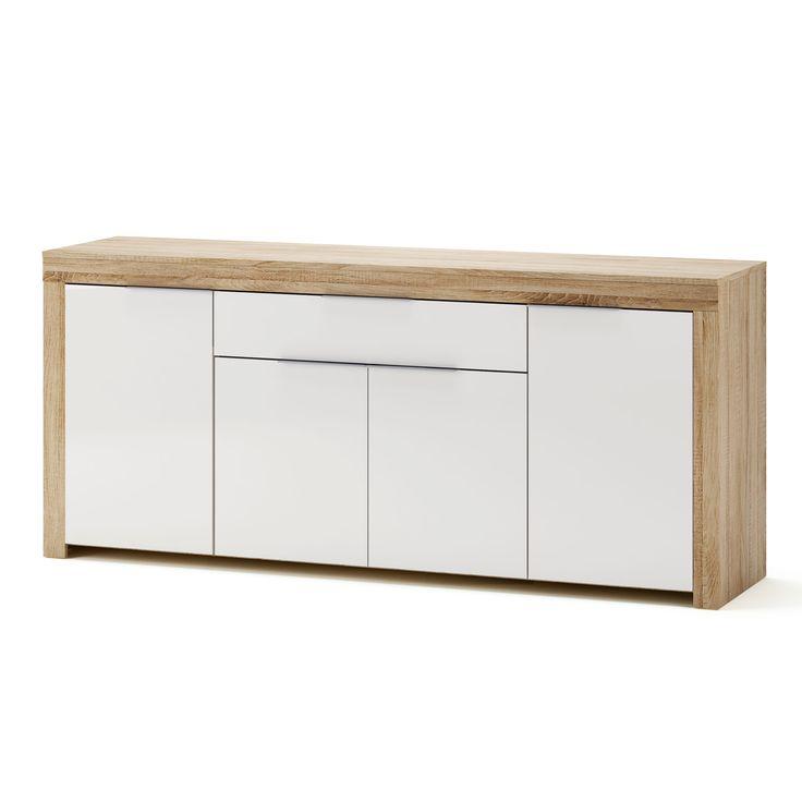 Buffet bas 4 portes 1 tiroir blanc et bois L177.2 cm NAXIS port offert