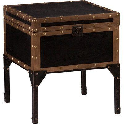 Industrial Draven Travel Trunk End Table in an Antique Black Finish and Dark Antique Bronze, Perfect for Storing Living Room Accessories Like Throw Pillows or Games to Play ** To view further for this item, visit the image link.