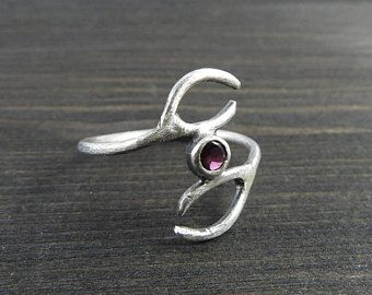 Garnet studded antler ring