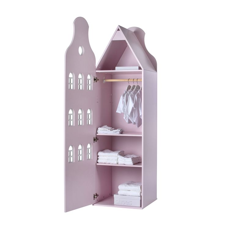 This is Dutch Kinderkledingkast Halsgevel pastel pink