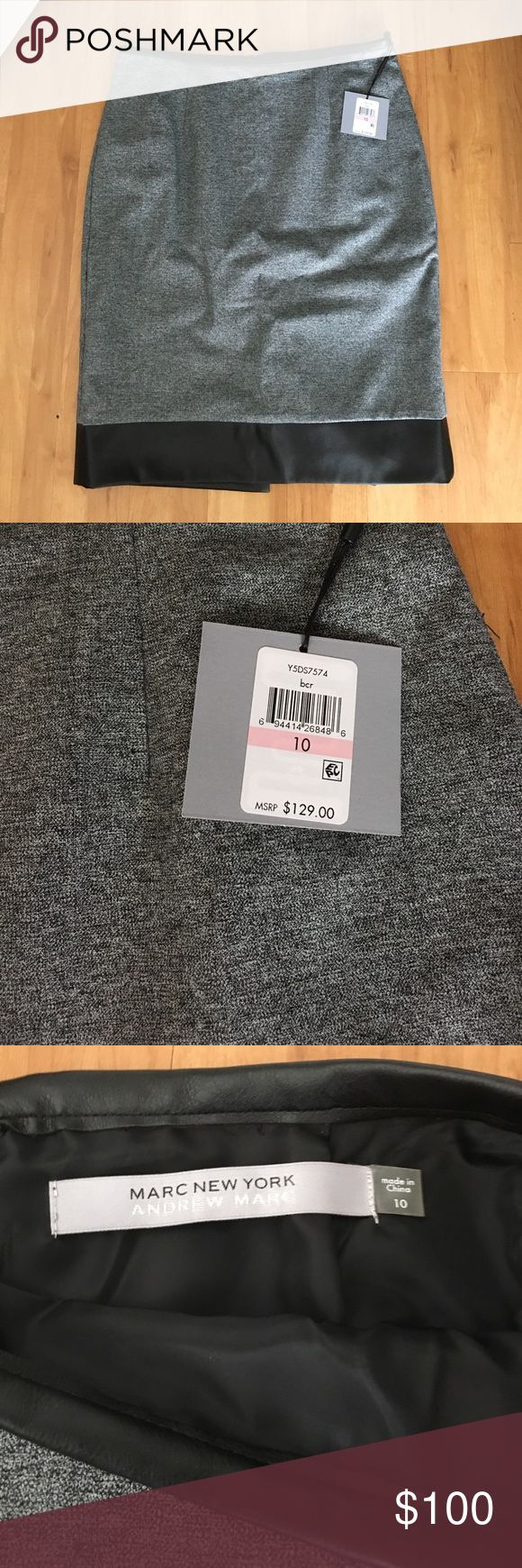 Marc New York Andrew Marc faux leather gray skirt Brand new with tags $129 retail - faux leather trim - soft smooth gray color lined and zip back size 10 Andrew Marc Skirts Pencil