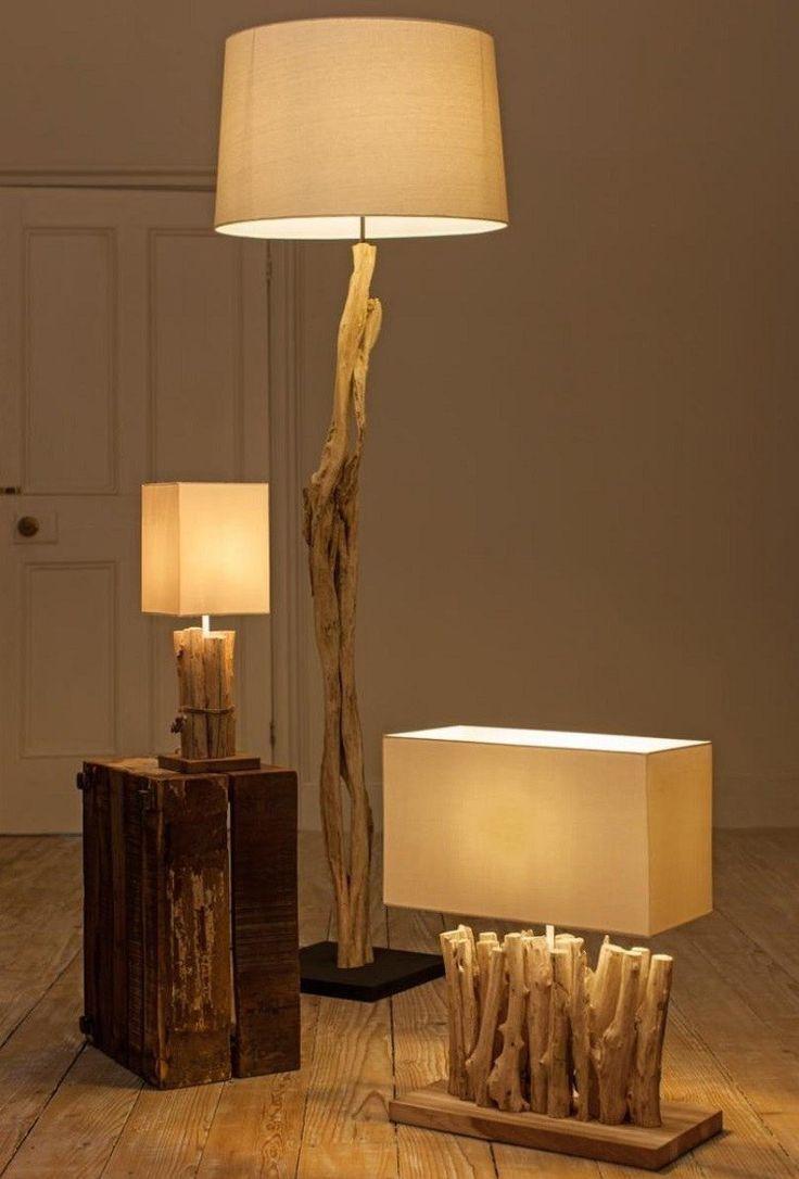 lampe bois flotte lampadaire et suspension par la nature