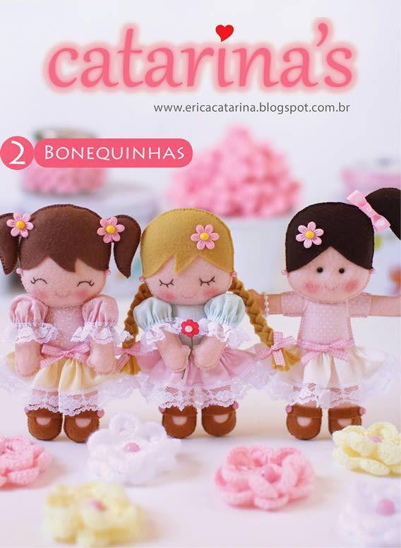 Apostila grátis bonecas de feltro passo a passo para você aprender e fazer lembrancinhas de aniversário, nascimento, enfeite de porta de maternidade