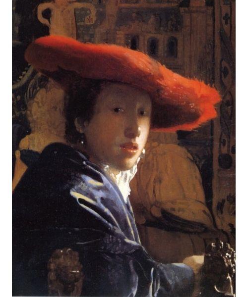 Девушка в красной шляпе. Ян Вермеер (Ян ван дер Меер ван Делфт) (photo Yan Vermeer)