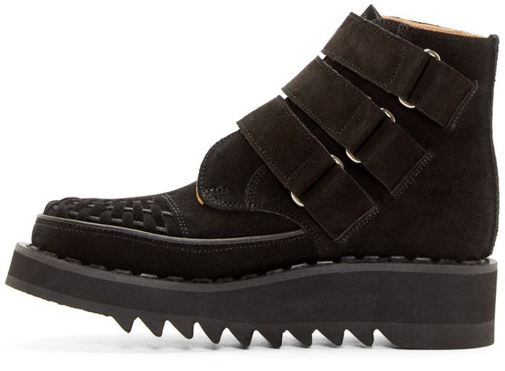 99% IS Black Suede Velcro Creeper Boots