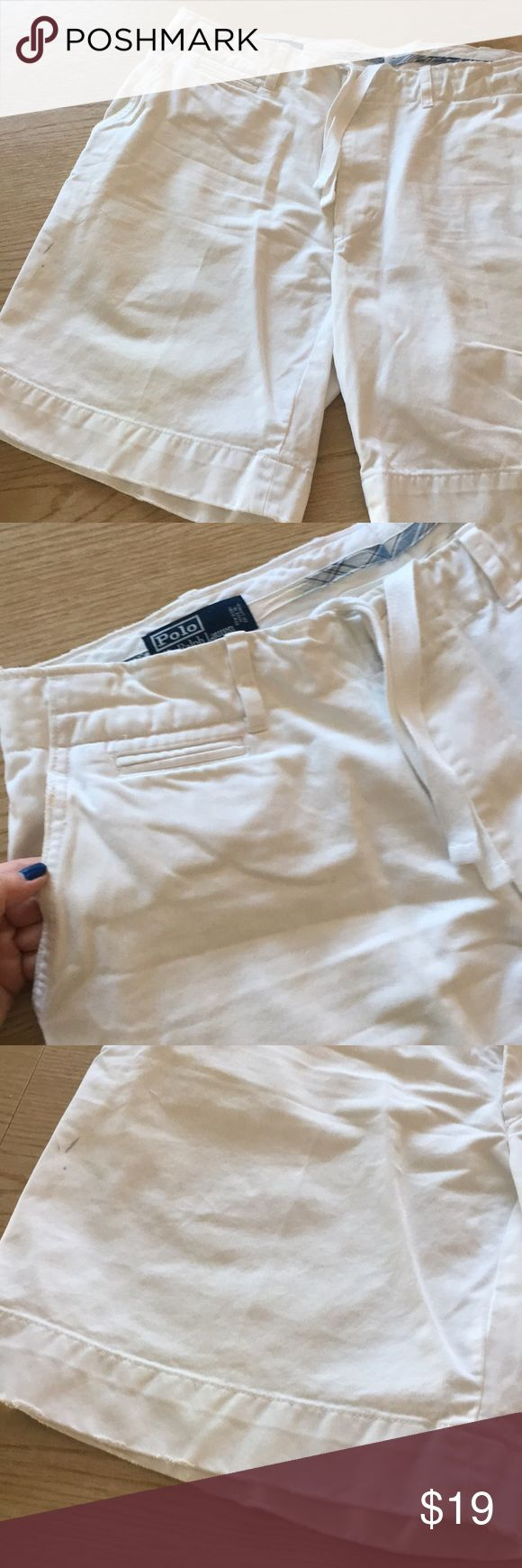 "POLO by RALPH LAUREN POLO by RALPH LAUREN Mens Shorts. Size 38. White Twill 100% Cotton. Only wore a few times but does show some signs of wear. Destressed Hem Intentional. Zip Fly with Drawstring Interior Waist. 11"" Rise. 9 1/2"" Inseam. Polo by Ralph Lauren Shorts"
