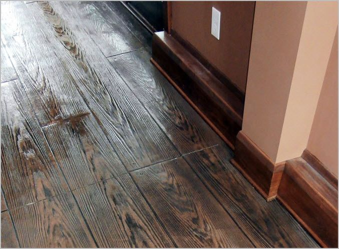 Stamped Concrete Can Simulate Real Hardwood Floors Concrete Craft Floors Pinterest