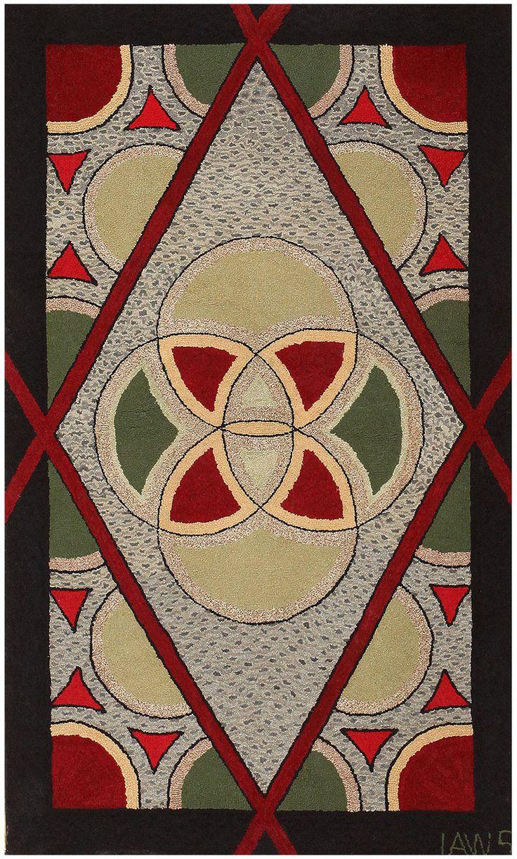 Art Deco American Hooked Rug 50273